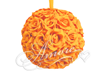 Popsicle Tangerine Silk Pomander Kissing Ball Wedding 12 inches