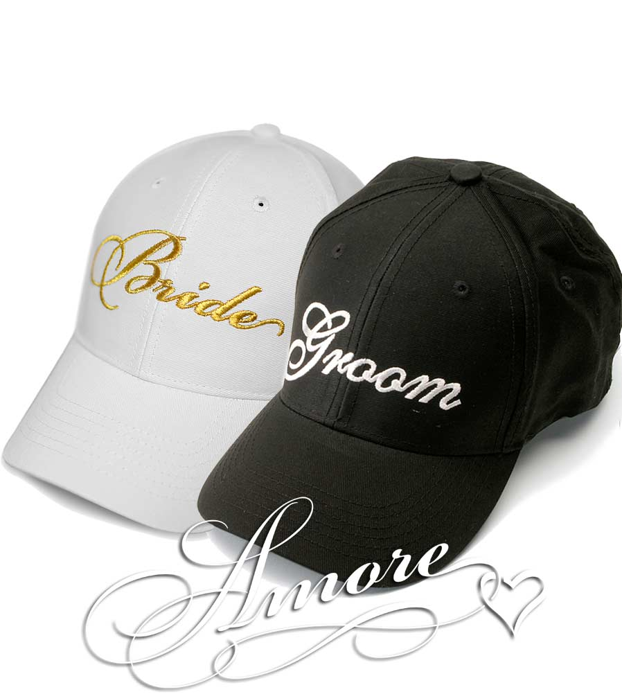 Gold Bride and Groom Wedding Baseball Caps
